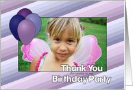 Thank You for Coming - Purple and Blue Balloons - Custom Photo card