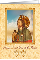 Happy Feast Day of St. Rocco! - Leaves Design - English Prayer Verse inside card