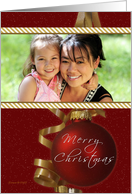Merry Christmas - Your Photo Here Card - Classic Ornament Snow card