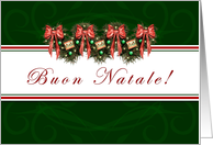 Buon Natale - Italian- Merry Christmas - Classic Green Garland card