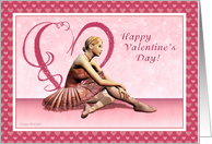 Ballerina with Hearts - Happy Valentine's Day card