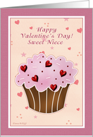 Niece Happy Valentines Day - Cupcake card