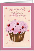 Invite Valentine's Birthday Party - Cupcake card