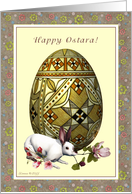 Happy Ostara - Ostara Egg Hare and Flowers card