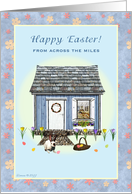 Across the Miles - Happy Easter - Easter House and Bunny card