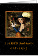 Samhain Gathering Invitation - Witch Starry Night card