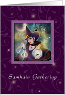 Samhain Gathering Invitation - Witch Purple Leaves card