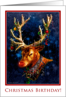 Christmas Birthday Party Invitation - Reindeer with Ornaments card