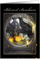 Samhain, Mystical Raven, Skulls, Pumpkins, Candles, Spooky Card
