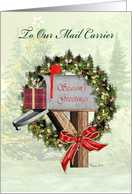 Season's Greetings To Mail Carrier Mailbox, Wreath, Gift, Bow card