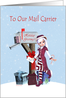 Holiday Greetings To Mail Carrier Mailbox, Wreath, Gift, Bow card