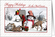 Happy Holidays To Mail Carrier Mailbox, Snowman, Deer, Gifts, Snow card