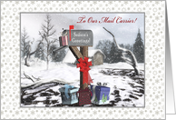 Season's Greetings To Mail Carrier Mailbox, Gifts, Bow, Snow card