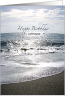 Sparkling Sand and Ocean Waves - Sunrise on Horizon - Photography - Happy Birthday Colleague - Co-Worker card