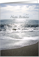 Sparkling Sand and Ocean Waves - Sunrise on Horizon - Photography - Happy Birthday card