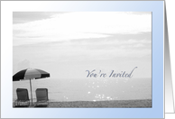 You're Invited - 2 Chairs and Umbrella Overlook Sparkling Ocean - Photography card