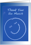 Thank You So Much for Birthday Gift - Smiley Face Skywriting on Blue Sky card
