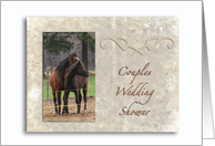 Horse Lovers-Couples Wedding Shower-Invitation-Hugging Horses card