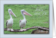 Jack and Jill - Stag and Doe Bridal Shower-Tropical Birds on Branch card