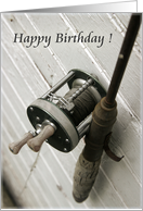 Happy Birthday-Fishing Rod and Reel card