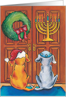 Doggies at the Door with Wreath and Menorah card