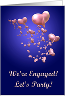 Pink Hearts Engagement Party Invitation card
