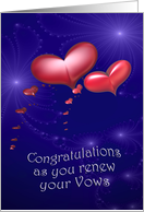 Vow Renewal Congratulations Red Hearts card