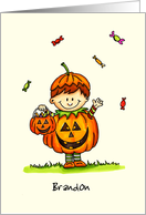Personalize with name - Trick or Treat Boy in Pumpkin Costume card