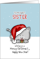 Wishing you a meowy Christmas - Cat Holiday Card for sister card