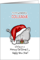 Wishing you a meowy Christmas - Cat Holiday Card for colleague card