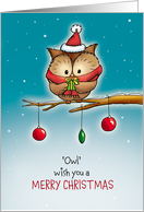 Christmas Card with Owl - Owl wish you a Merry Christmas card