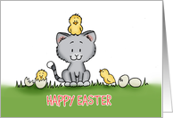 Kitten with chicks - Cute Easter Card