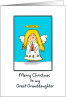 Merry Christmas to my Great Granddaughter Angel Blank card