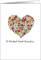 Great-Grandma - Mother's Day, Colorful Flowers in a Heart card
