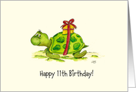 11th Birthday - Humorous, Cute Turtle with Gift on Back card
