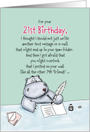 21st Birthday - Humorous, Whimsical Card with Hippo card