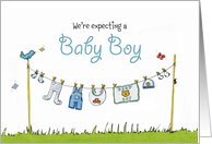 We are expecting a Baby Boy - Announcement for Boy card