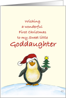 First Christmas for Goddaughter - Cute Christmas Card with Penguin card
