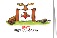Humorous Happy Canada Day to a Baby - Baby's First Canada Day card