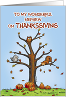 Happy Thanksgiving Nephew - Autumn Tree with Pumpkins card