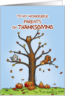 Happy Thanksgiving Parents - Autumn Tree with Pumpkins card