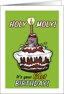 Humorous - It's your 61st Birthday - Holy Moly Cartoon - sixty-first card