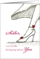 Sister - Be my Matron of Honor - Sketch of a High Heel card