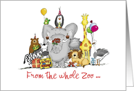 Personalize this Happy Birthday from group - Zoo Animals card