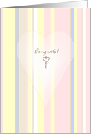 Congrats on new apartment, antique key and subtle stripes card