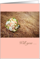 Country, Bouquet of Flowers and Hay, Bridesmaid Invitation card