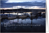 Evening at Coos Bay, Oregon dock, photo prayer card