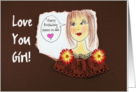 Sister-In-Law Happy Birthday, illustration Love You Girl card