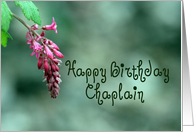 Happy Birthday Chaplain, Pink and Green, Flower card