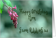 Happy Birthday Mom From All of Us, Pink and Green, Flower card